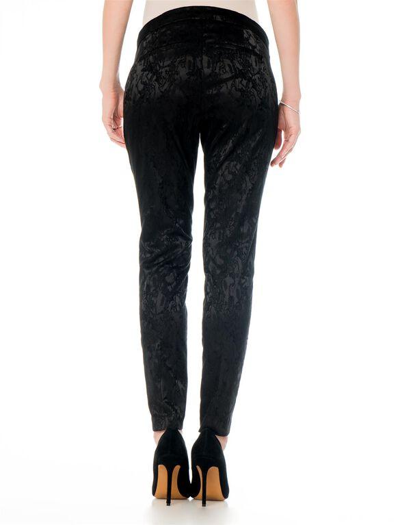 Pull On Style Jacquard Slim Leg Maternity Pants, Black Jacquard