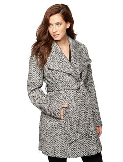 Textured Wrap Maternity Coat, Black