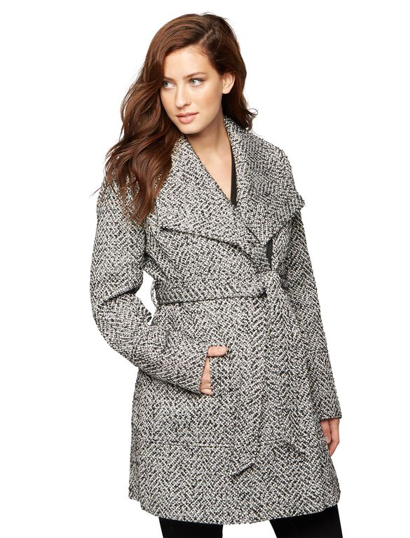 Textured Wrap Maternity Coat, Black