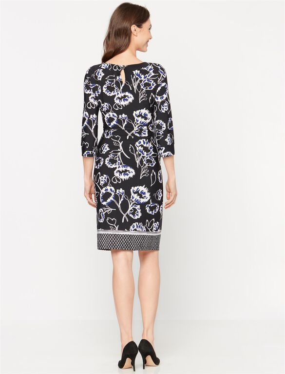 Printed Maternity Shift Dress, Black/Blue/White