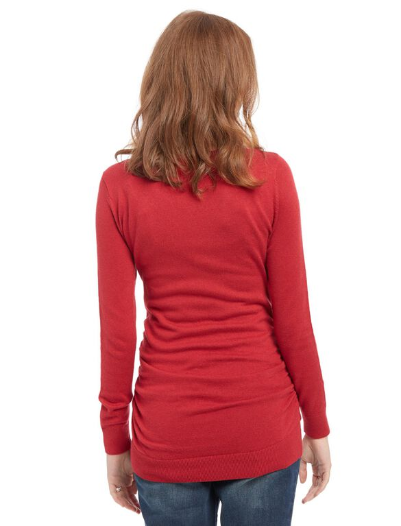 Side Ruched Maternity Sweater, Red