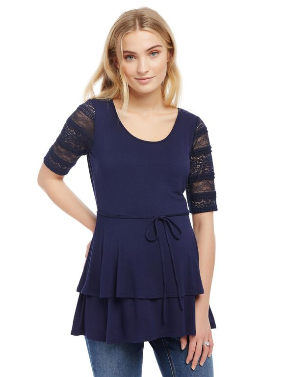 Lace Sleeve Layered Peplum Maternity Top, Navy