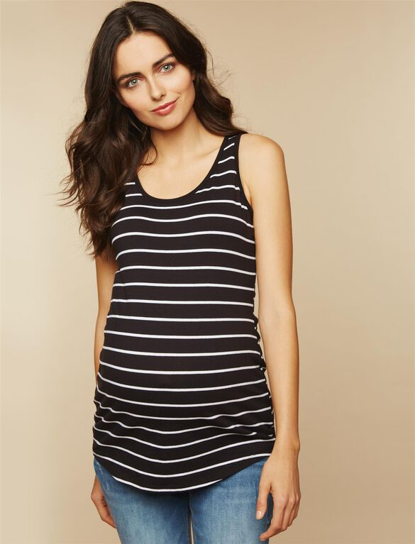 Bumpstart Scoop Neck Maternity Tank Top (2 Pack)- Stripe, Wht And Blk/Wht Strp