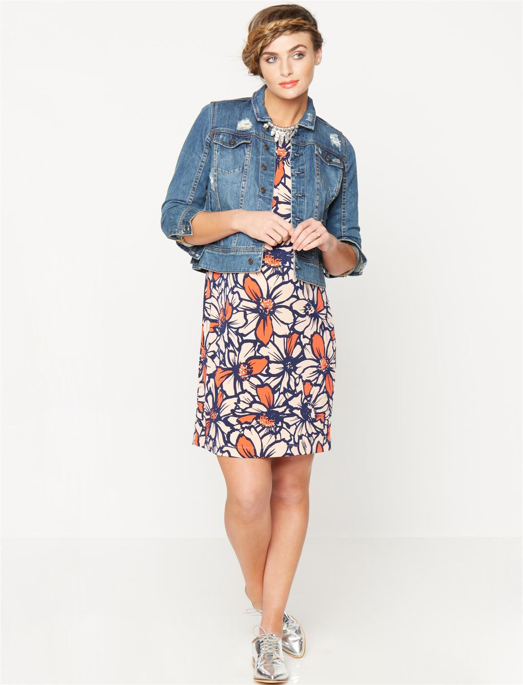 Taylor Boat Neck Maternity Shift Dress- Floral | A Pea in the Pod ...