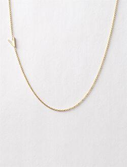 Maya Brenner Asymmetrical Mini Letter Necklace, V
