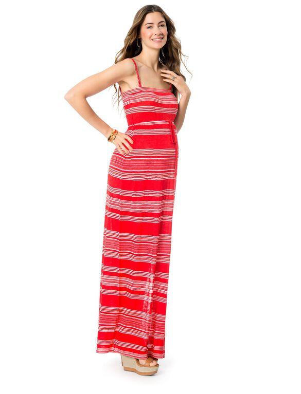 Tie Detail Maternity Maxi Dress, Red Stripe