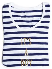 It's A Boy Striped Maternity Tee, Navy White Stripe