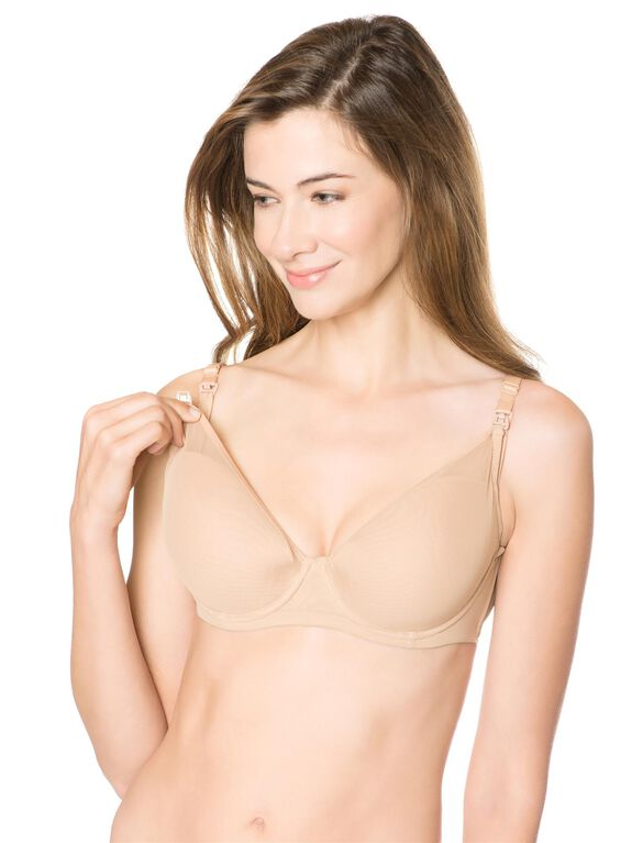 Le Mystere Molded Cup Underwire Lightly Lined Nursing Bra, Nude