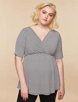 Plus Size Maternity Top, BLACK/WHITE GEO