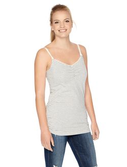 Clip Down Nursing Tank- Egret/Grey Stripe, Egret & Grey Strip