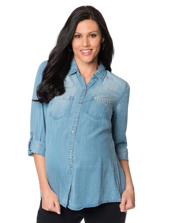 Wendy Bellissimo Light Chambray Maternity Shirt, Blue