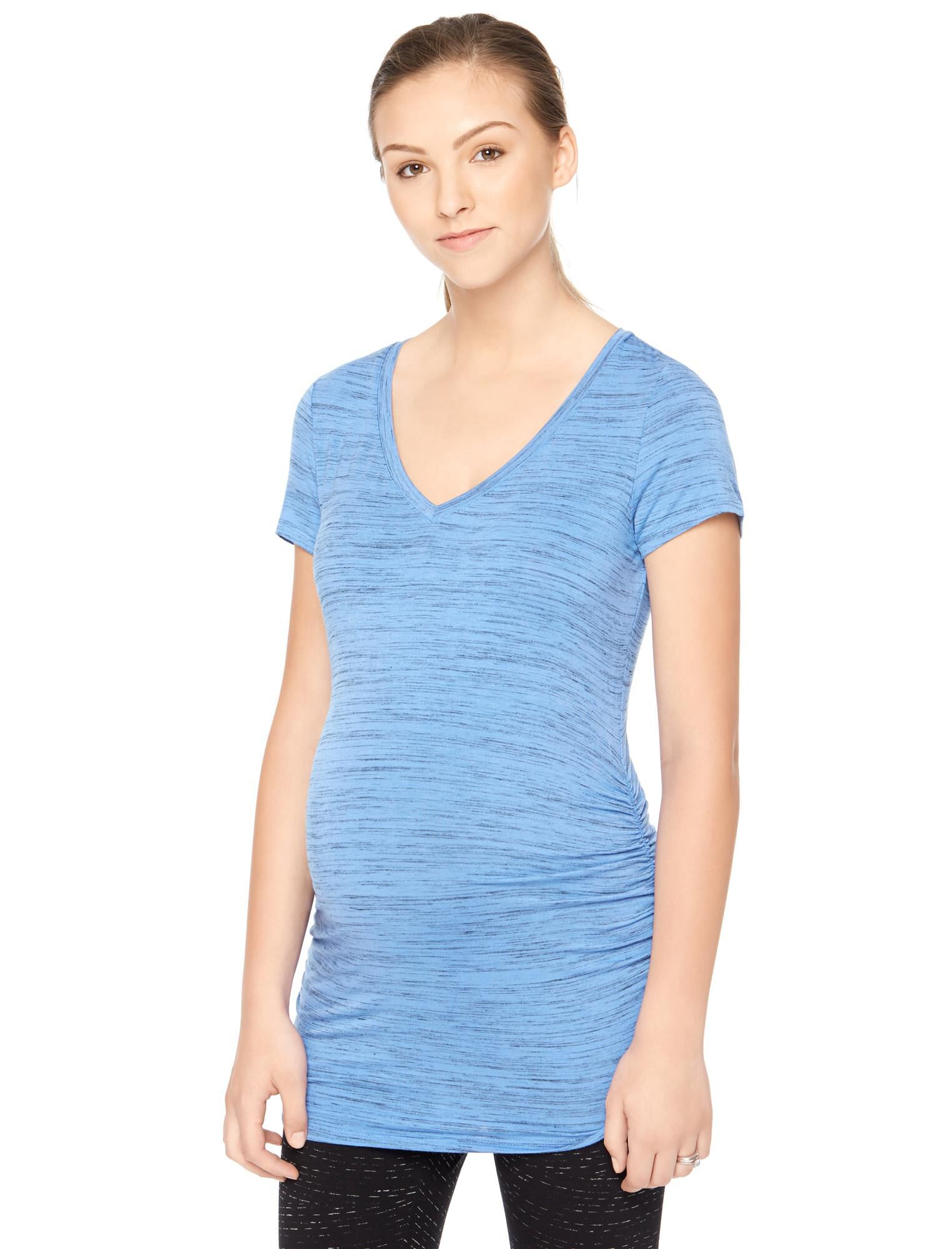 Spacedye Side Ruched Maternity Tee- Blue