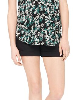 Secret Fit Belly Cuffed Sateen Maternity Shorts, Black
