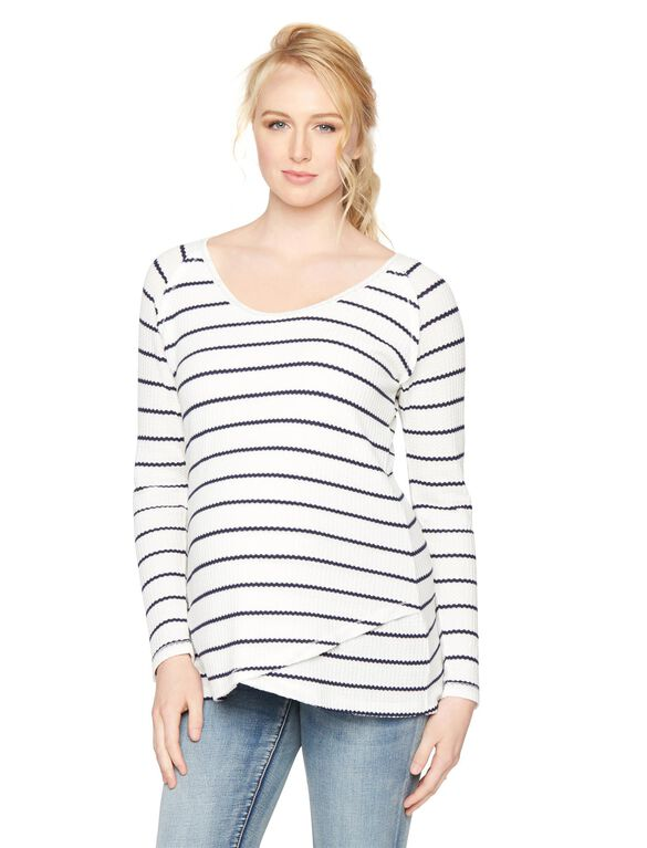 Cross Front Waffle Knit Maternity Top, Soft White/Midnight