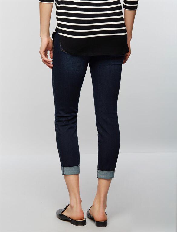 Luxe Essentials Denim Secret Fit Belly Boyfriend Maternity Jeans, Dark Wash