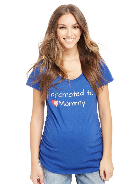 Promoted to Mommy Maternity Tee- Dark Blue, Dark Blue
