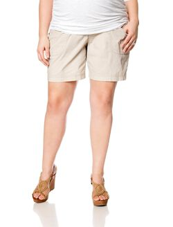 Plus Size Secret Fit Belly Roll Hem Maternity Shorts, Khaki