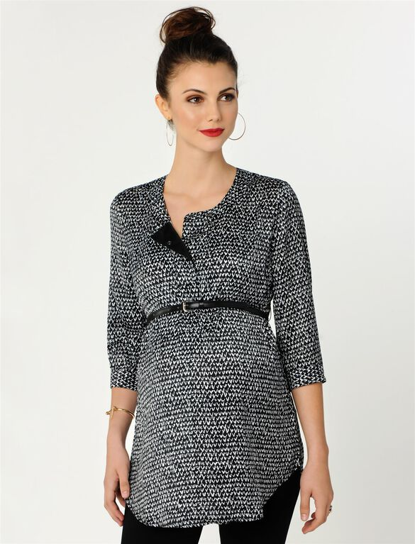 Belted Maternity Tunic, Black/White Print