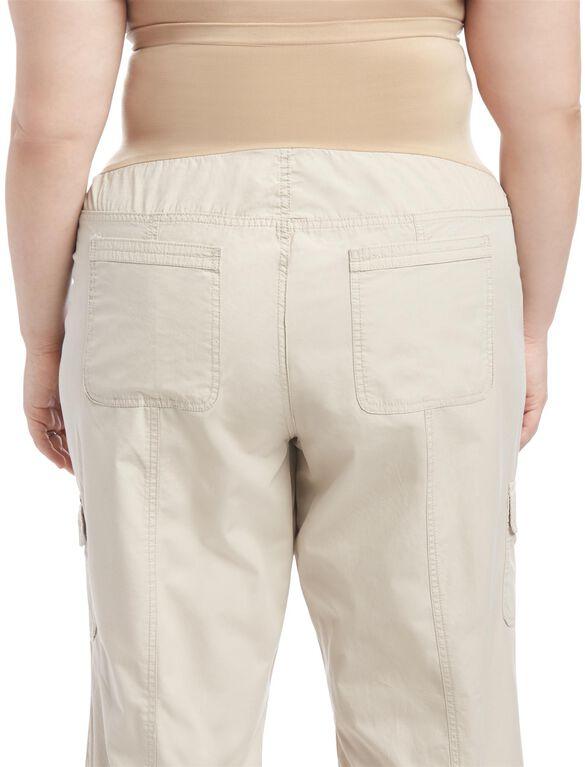 Plus Size Straight Leg Maternity Crop Pants, Oat