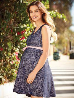 Gender Reveal Lace Maternity Dress, Navy