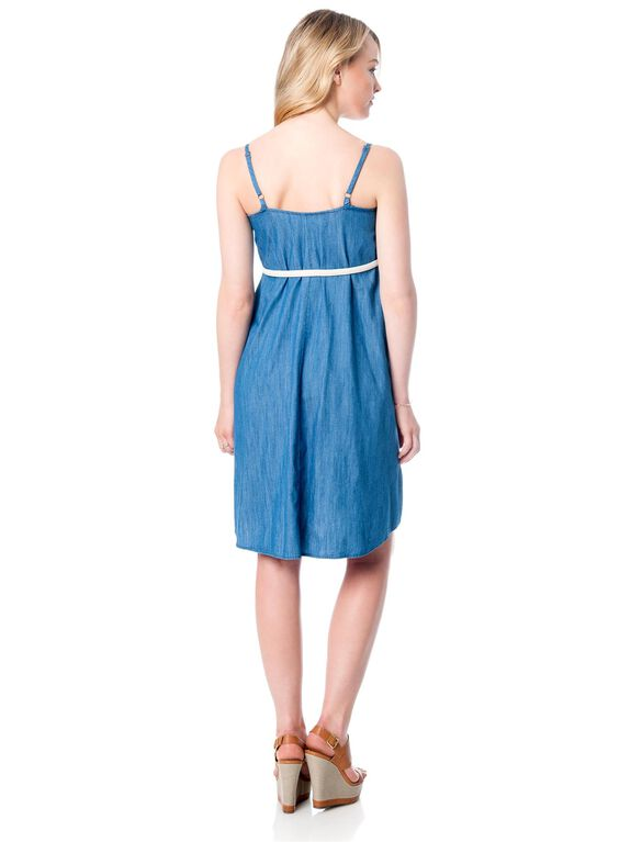 Belted Denim Short Maternity Dress, Chambray