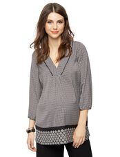 Lace Trim Maternity Tunic, Border Print