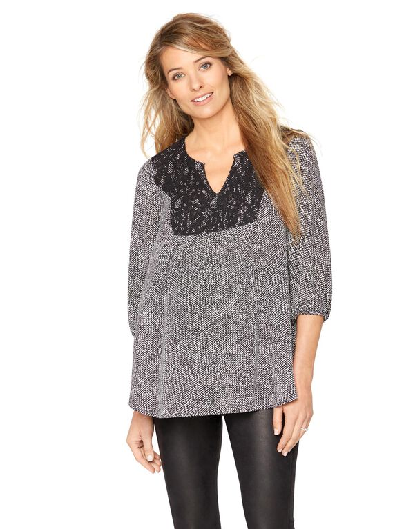 Lace Maternity Blouse, Black/White Print