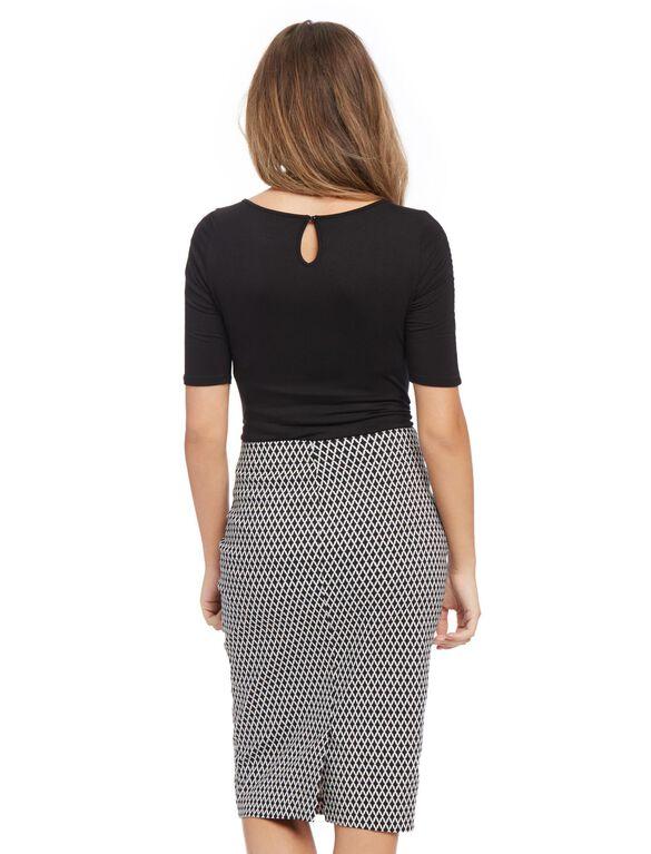 Secret Fit Belly Pencil Fit Maternity Skirt- Geo Print, Geo Print