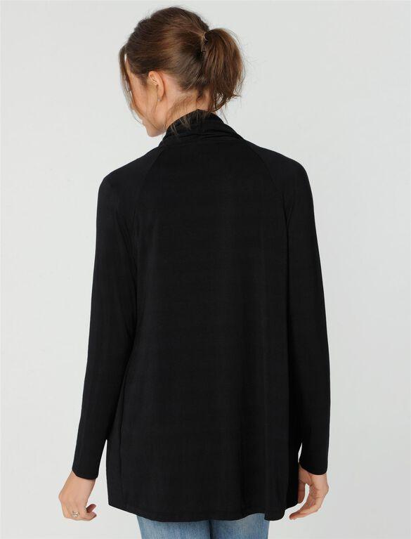 Luxe Essentials Cascade Maternity Cardigan, Black