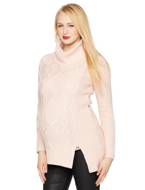 Cable Knit Maternity Sweater, Blush