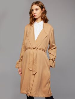 Splendid Belted Maternity Trench Coat, Dark Macadamia