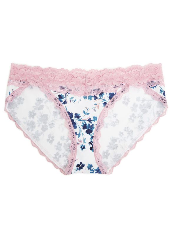 Jessica Simpson Lace Trim Panty (single)- Floral, Blue Floral.