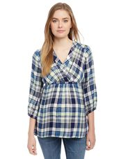 Plaid Surplice Neck Maternity Blouse, Green Plaid
