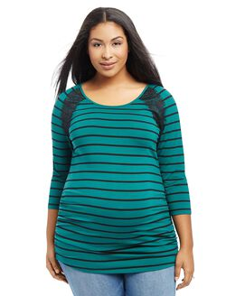 Plus Size Lace Trim Maternity Tee, Green Stripe