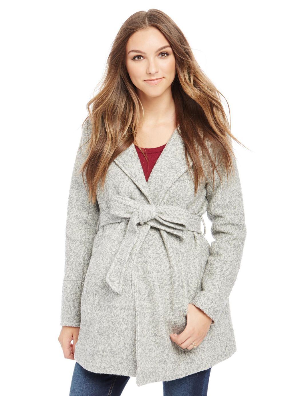 Hooded Boucle Maternity Jacket at Motherhood Maternity in Victor, NY | Tuggl