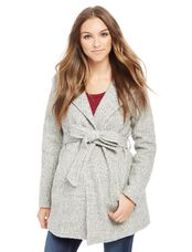 Hooded Boucle Maternity Jacket, Grey Boucle