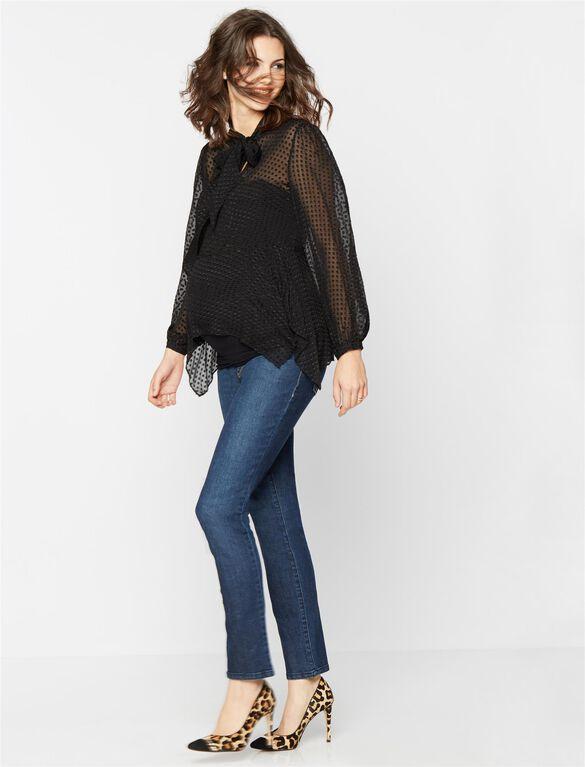 Luxe Essentials Denim Straight Leg Maternity Jean, Dark Wash
