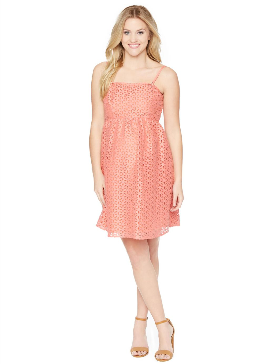 Eyelet belted maternity dress motherhood maternity eyelet belted maternity dress coral ombrellifo Image collections