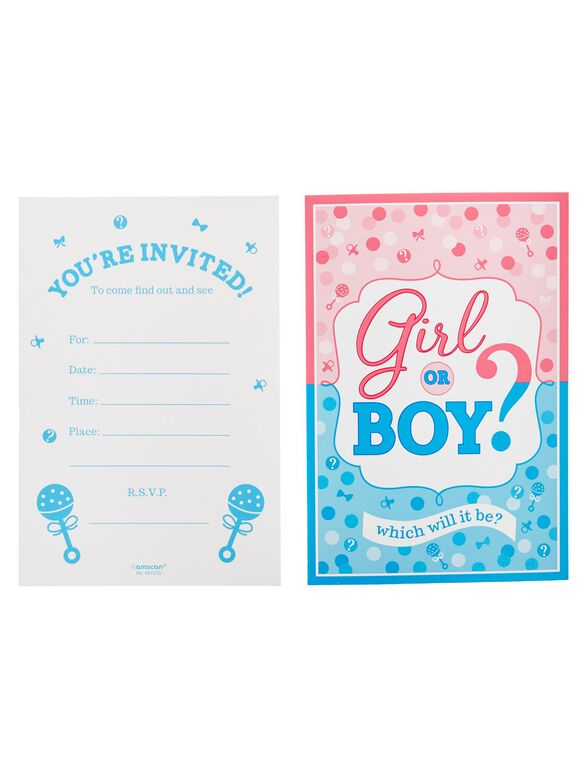 Girl Or Boy Gender Reveal Party Invitations, Pink/Blue