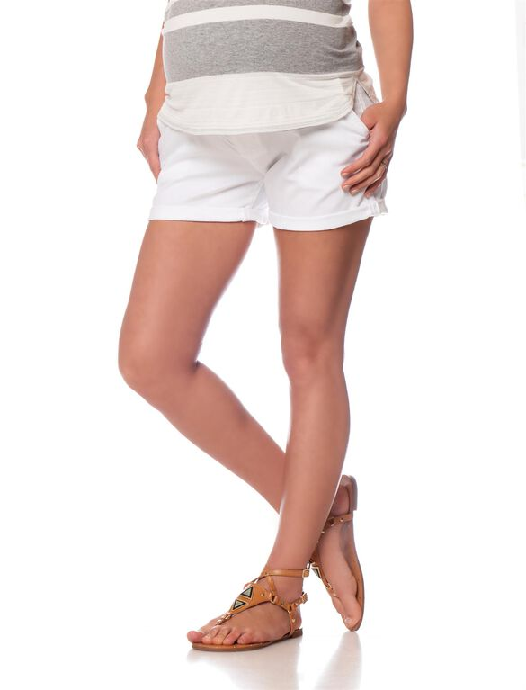 Joe's Jeans Secret Fit Belly 5 Pocket Maternity Shorts, White