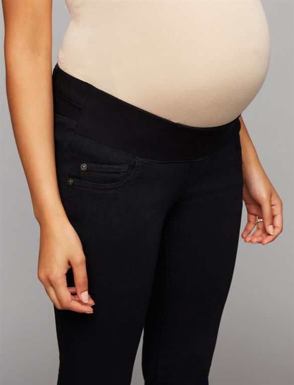 Luxe Essentials Denim Under Belly Skinny Leg Maternity Jeans, Black Denim