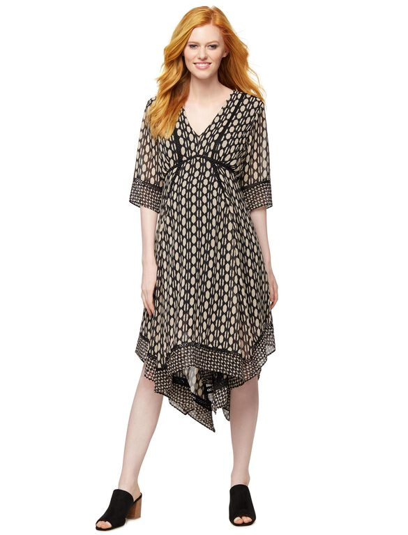 Taylor Hanky Hem Maternity Dress, Black/White Print