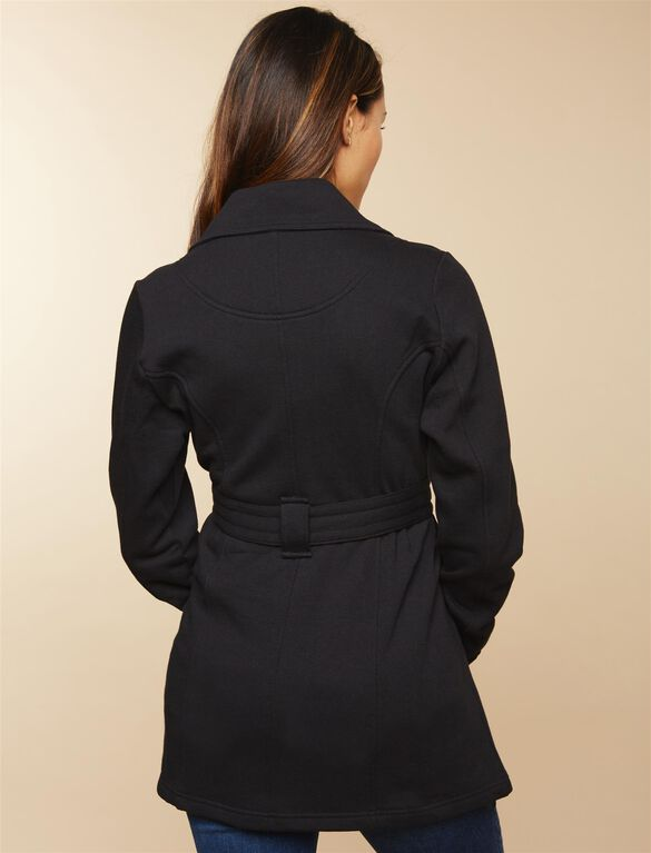 Removable Waist Tie French Terry Maternity Jacket, BLACK