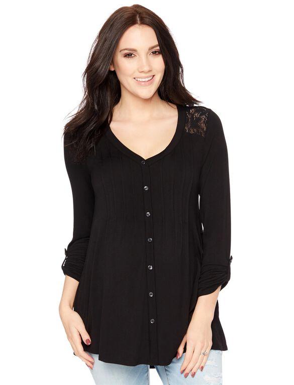 Lace Shoulder Button Front Maternity Shirt, Black