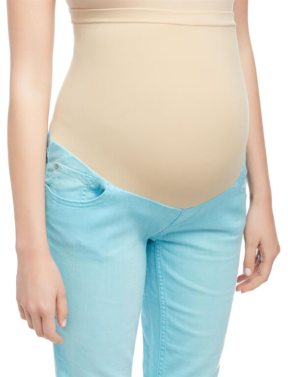 Secret Fit Belly Twill Skinny Leg Maternity Crop Pants, Blue Mist
