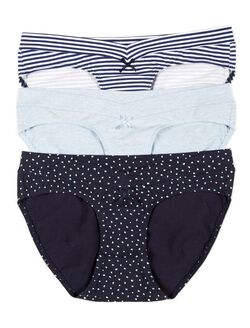 Maternity Hipster Panties (3 Pack)- Stripe/Dot, Dark Blue