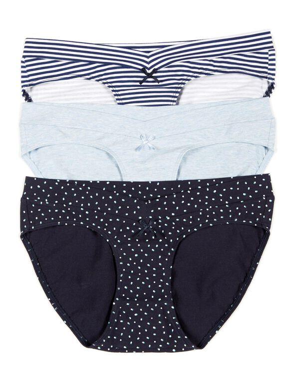 Maternity Hipster Panties (3 Pack)- Stripe/Dot, Dark Blue