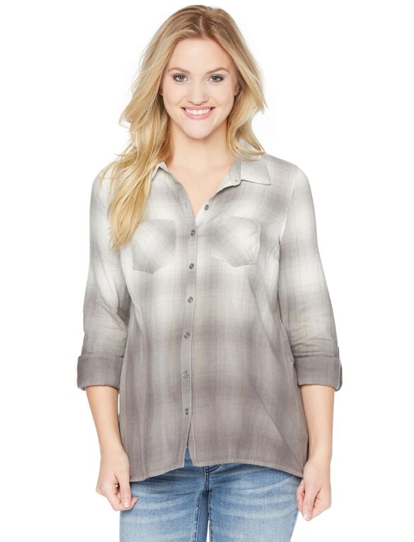 Wendy Bellissimo Ombre Plaid Maternity Tunic, Grey Dip Dye Plaid