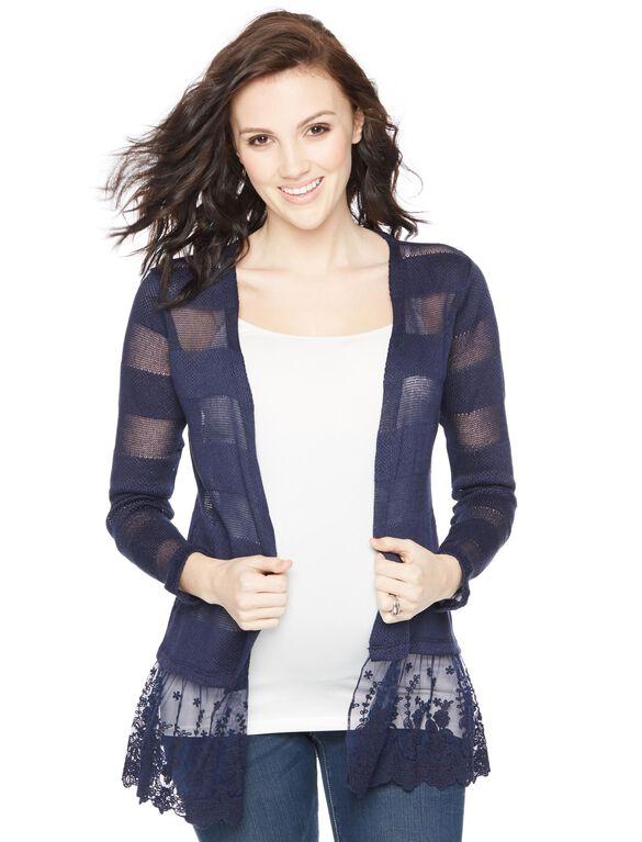 Lace Hem Maternity Cardigan, Navy