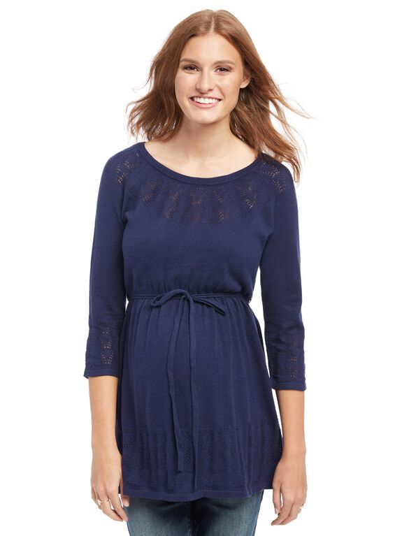 Babydoll Pointelle Knit Maternity Sweater, Navy